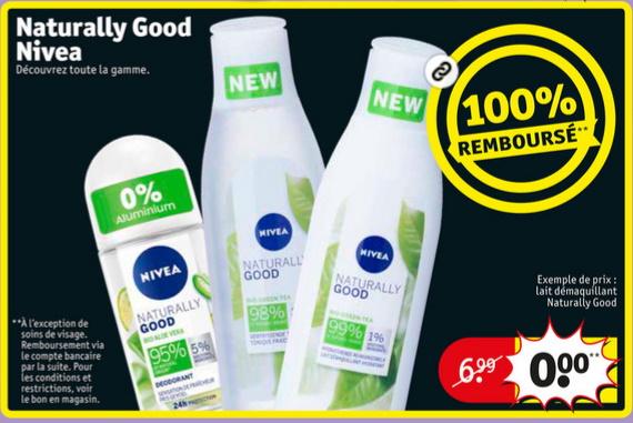 Produit Nivea Naturally Good 100% remboursé chez Kruidvat