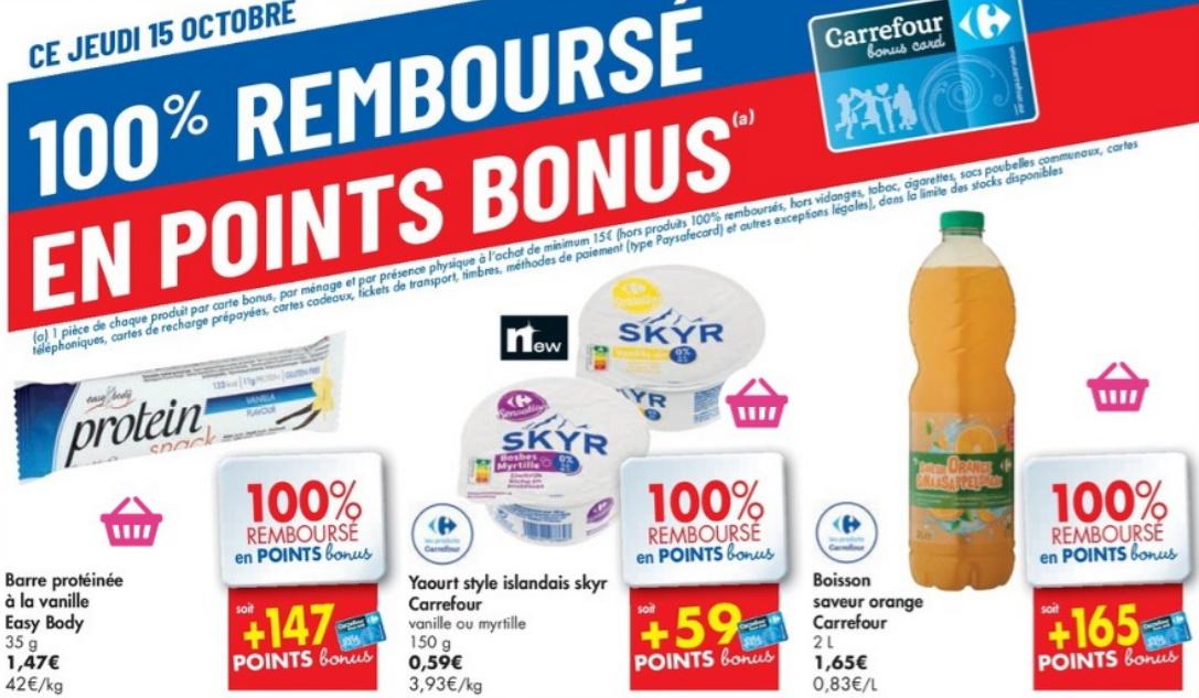 Produits 100% remboursé chez Carrefour le 15 octobre 2020