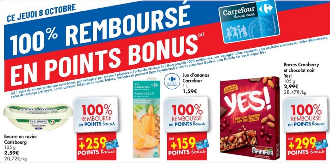 Produits 100% remboursé chez Carrefour le 8 octobre 2020