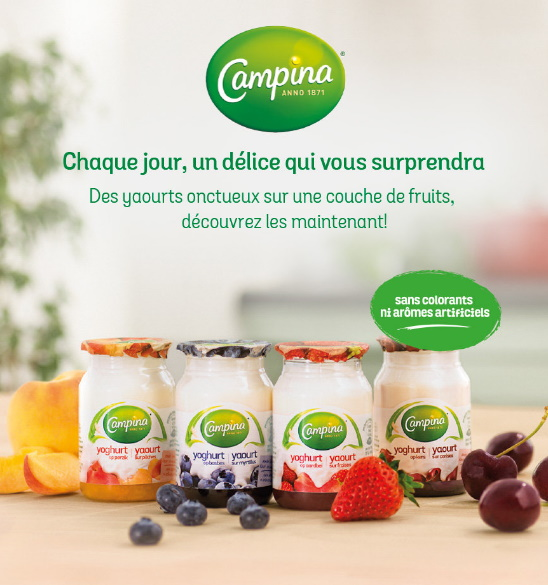 Yaourt Campina sur fruits 100% remboursé avec Shopmium