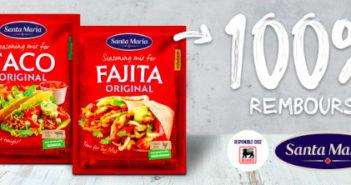 Assaisonnement pour taco ou fajita Santa Maria 100% remboursé