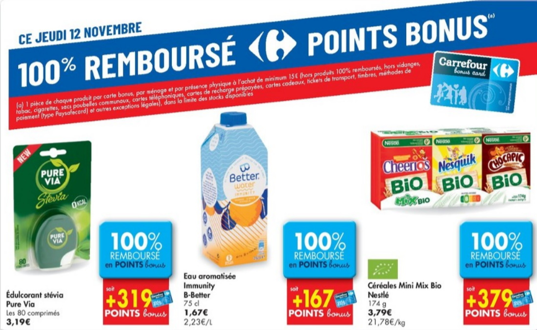 Produits 100% remboursé chez Carrefour le 12 novembre 2020