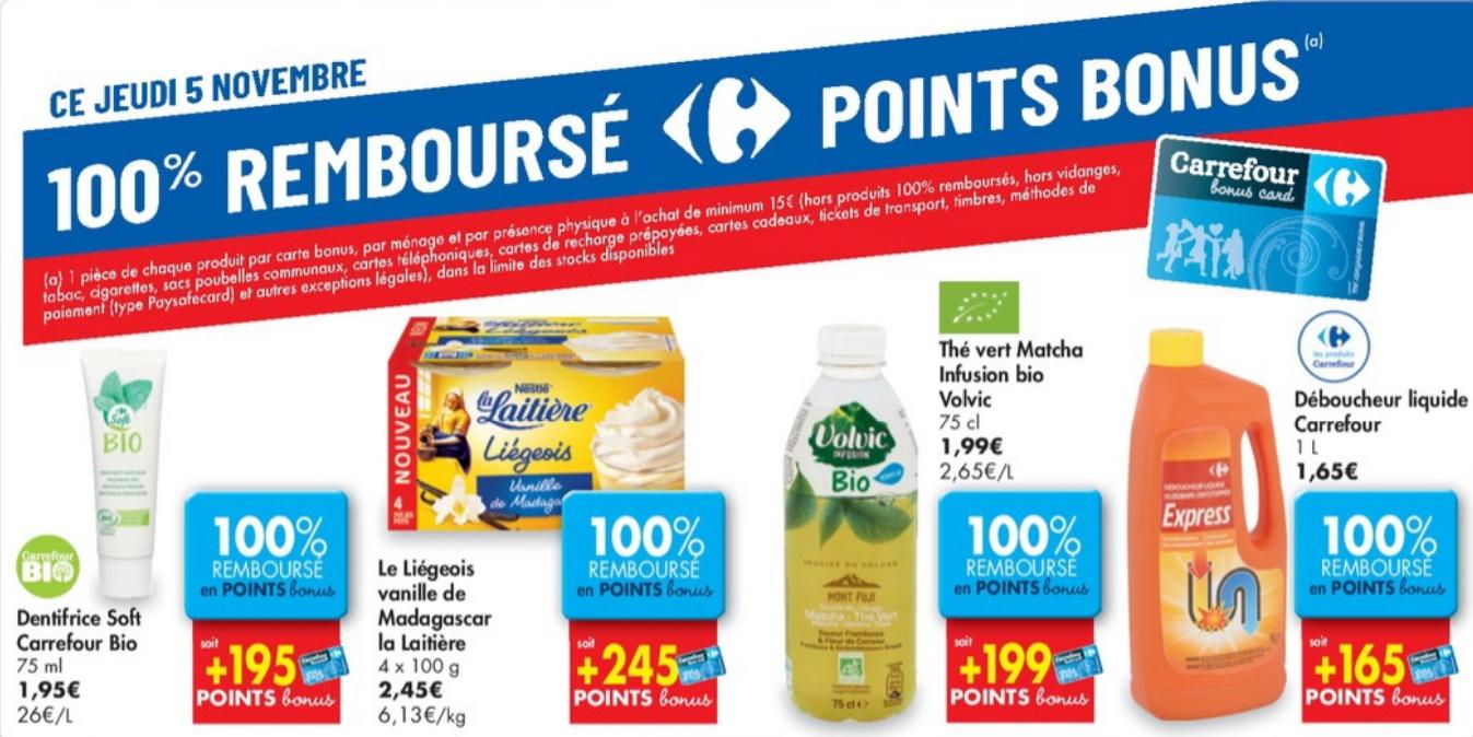 Produits 100% remboursé chez Carrefour le 5 novembre 2020