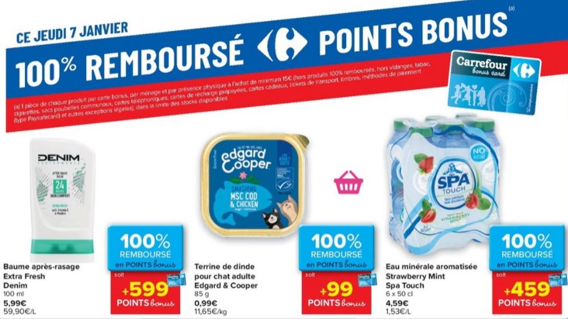 Produits 100% remboursé chez Carrefour le 7 janvier 2021