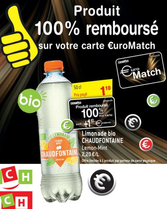 Limonade Chaudfontaine 100% remboursé chez Match et Smatch