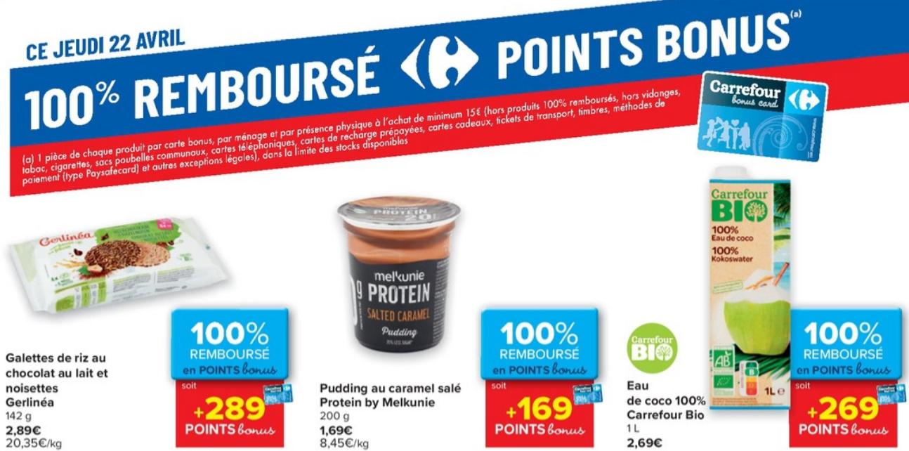 Produits 100% remboursé au Carrefour le 22 avril 2021
