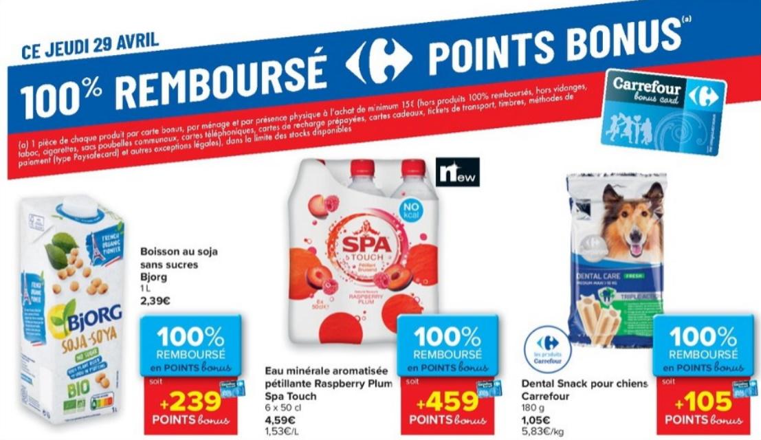 Produits 100% remboursé chez Carrefour le 29 avril 2021