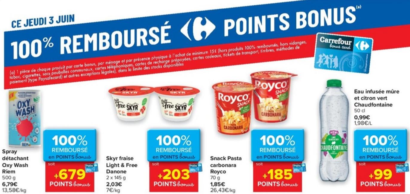 Produits 100% remboursé chez Carrefour le 3 juin 2021