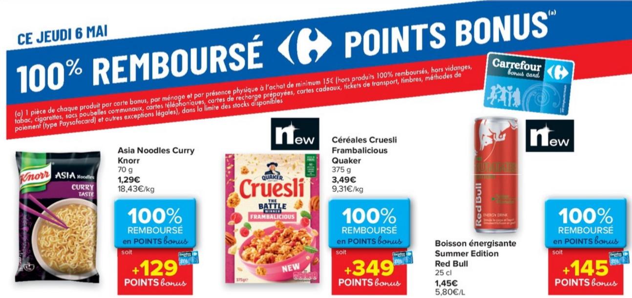 Produits 100% remboursé au Carrefour le 6 mai 2021