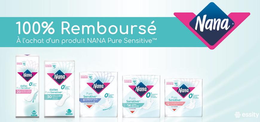 Serviettes hygiéniques Nana Pure Sensitive 100% remboursé avec myShopi