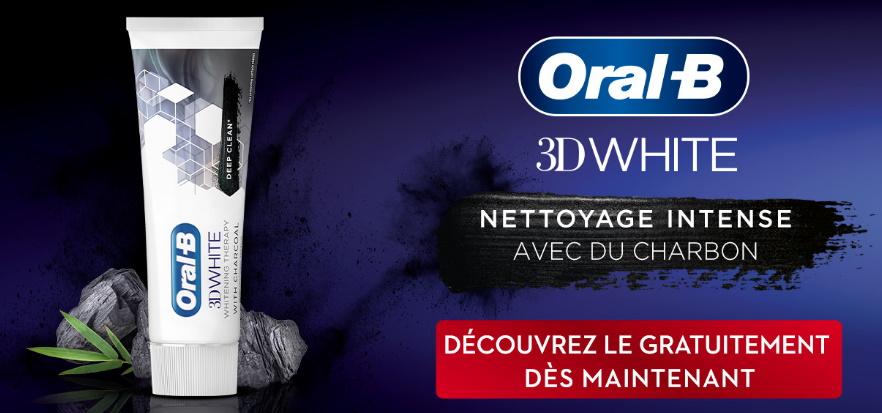 Dentifrice Oral-B 3D White charbon 100% remboursé avec myShopi