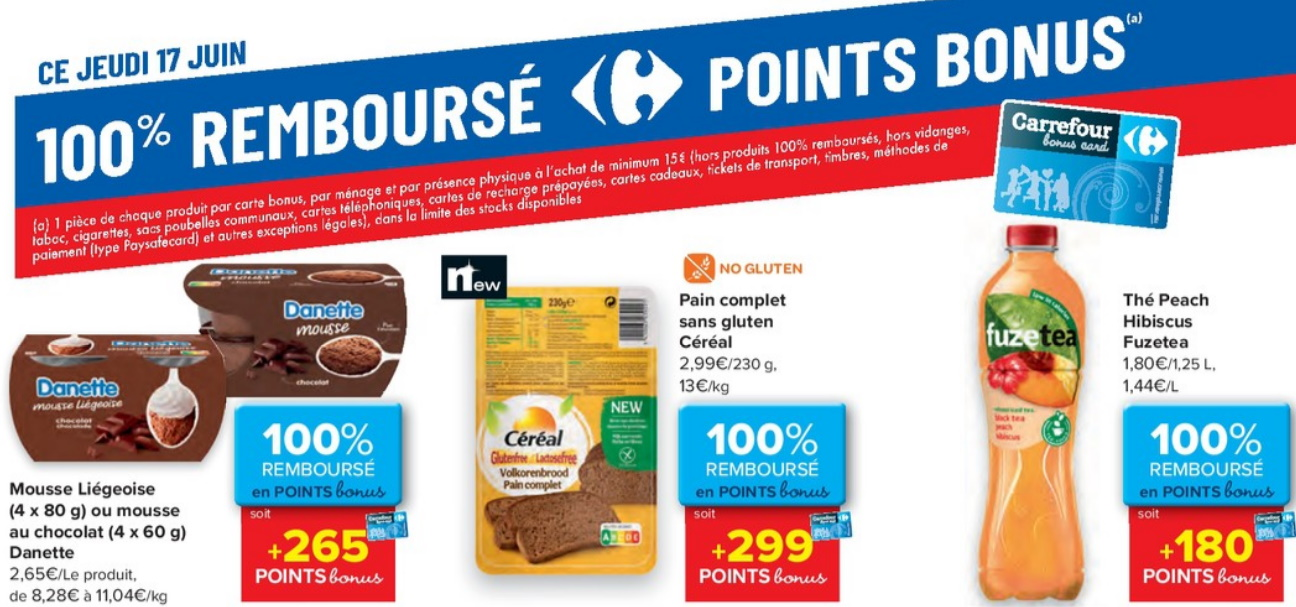 Produits 100% remboursé chez Carrefour le 17 juin 2021