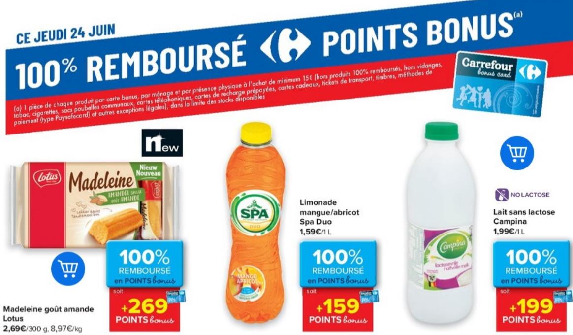 Produits 100% remboursé chez Carrefour le 24 juin 2021