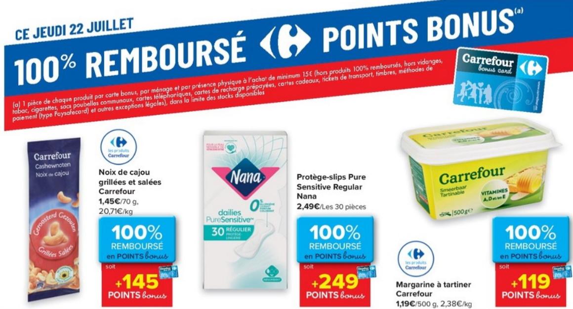 Produits 100% remboursé chez Carrefour le 22 juillet 2021