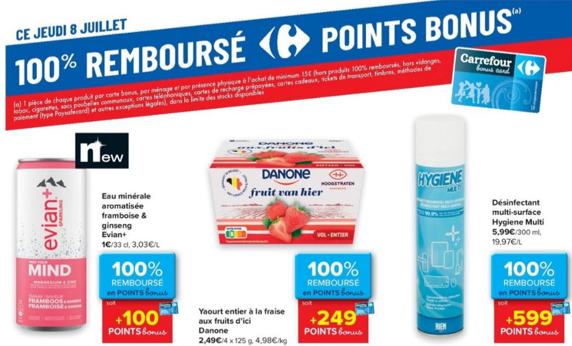 Produits 100% remboursé chez Carrefour le 8 juillet 2021