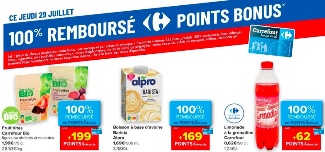 Produits 100% remboursé chez Carrefour le 29 juillet 2021