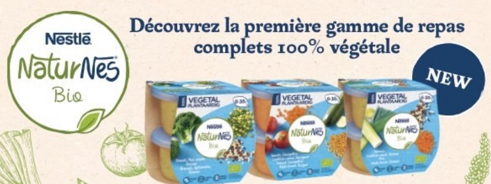 Repas végétal pour bébés Naturnes bio de Nestlé 100% remboursé