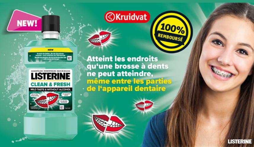 Bain bouche Listerine Clean Fresh 100% remboursé