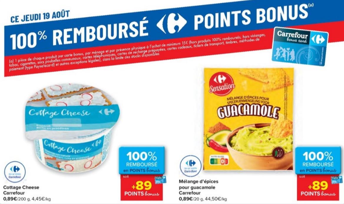 Produits 100% remboursé chez Carrefour le 19 août 2021