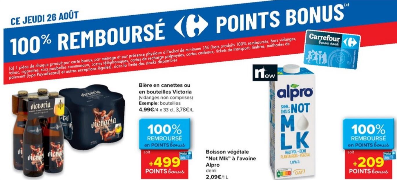 Produits 100% remboursé au Carrefour le 26 août 2021