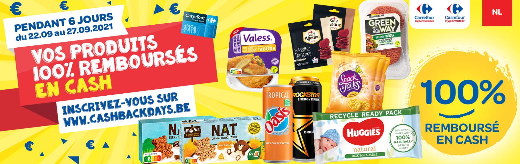 Cashbackdays, produits gratuits chez Carrefour