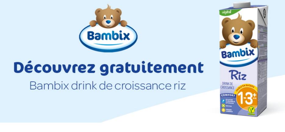 Lait de croissance végétal au riz Bambix 100% remboursé