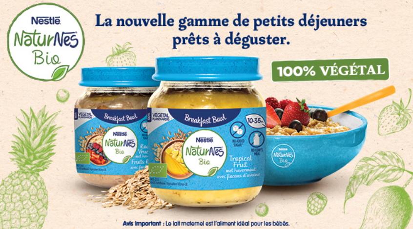 Petit-déjeuner pour bébés en pots NaturNes Bio de Nestlé 100% remboursé