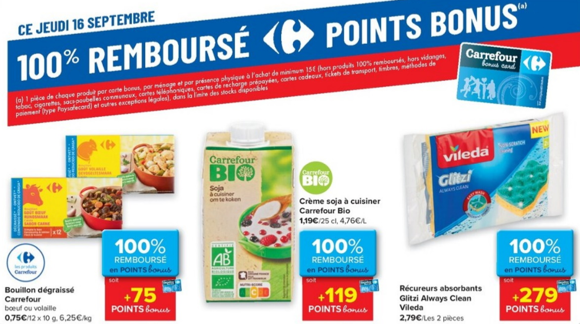 Produits 100% remboursé chez Carrefour le 16 septembre 2021