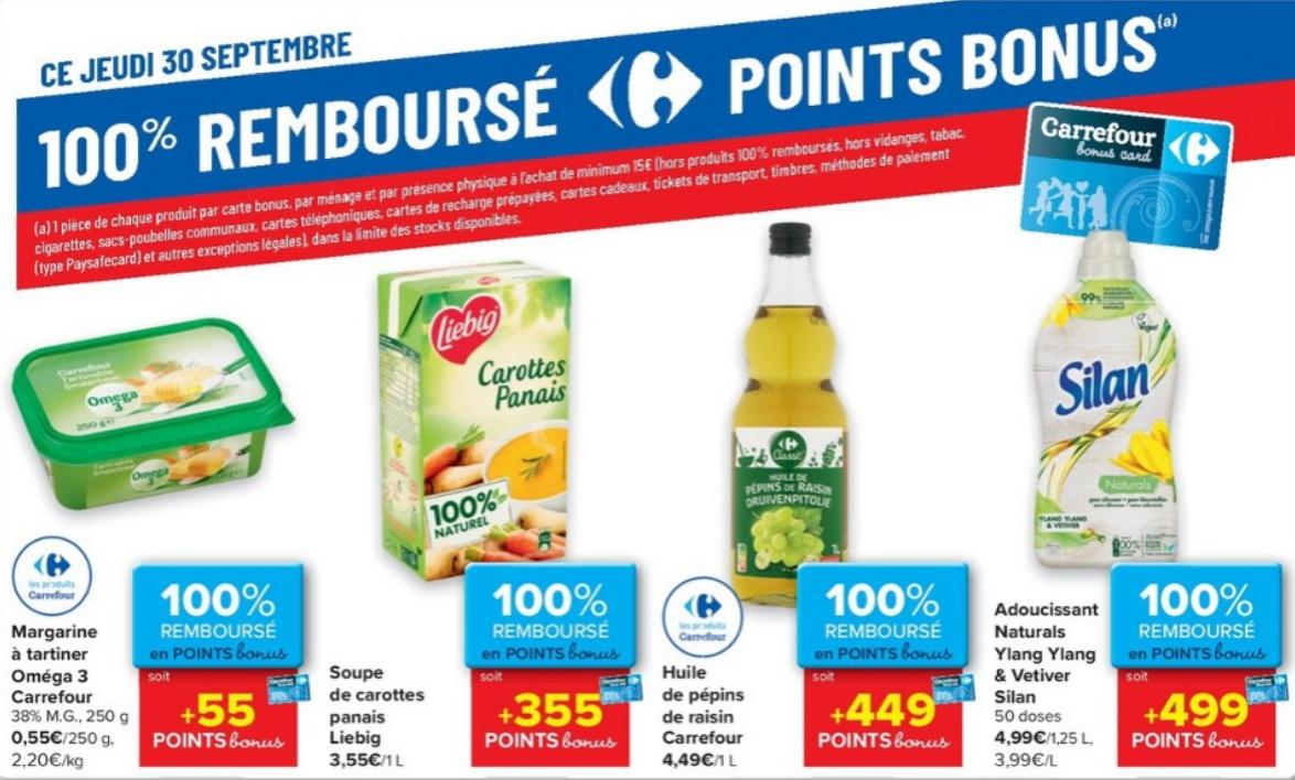 Produits 100% remboursé chez Carrefour le 30 septembre 2021