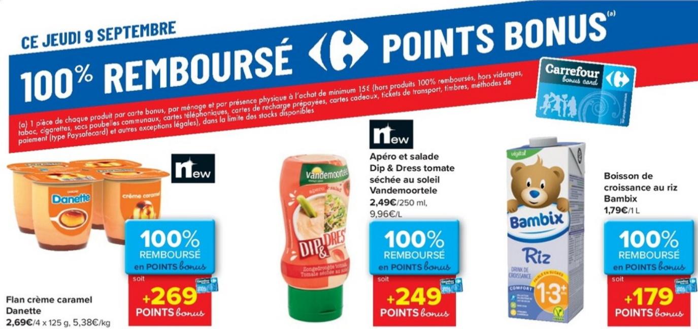 Produits 100% remboursé chez Carrefour le 9 septembre 2021