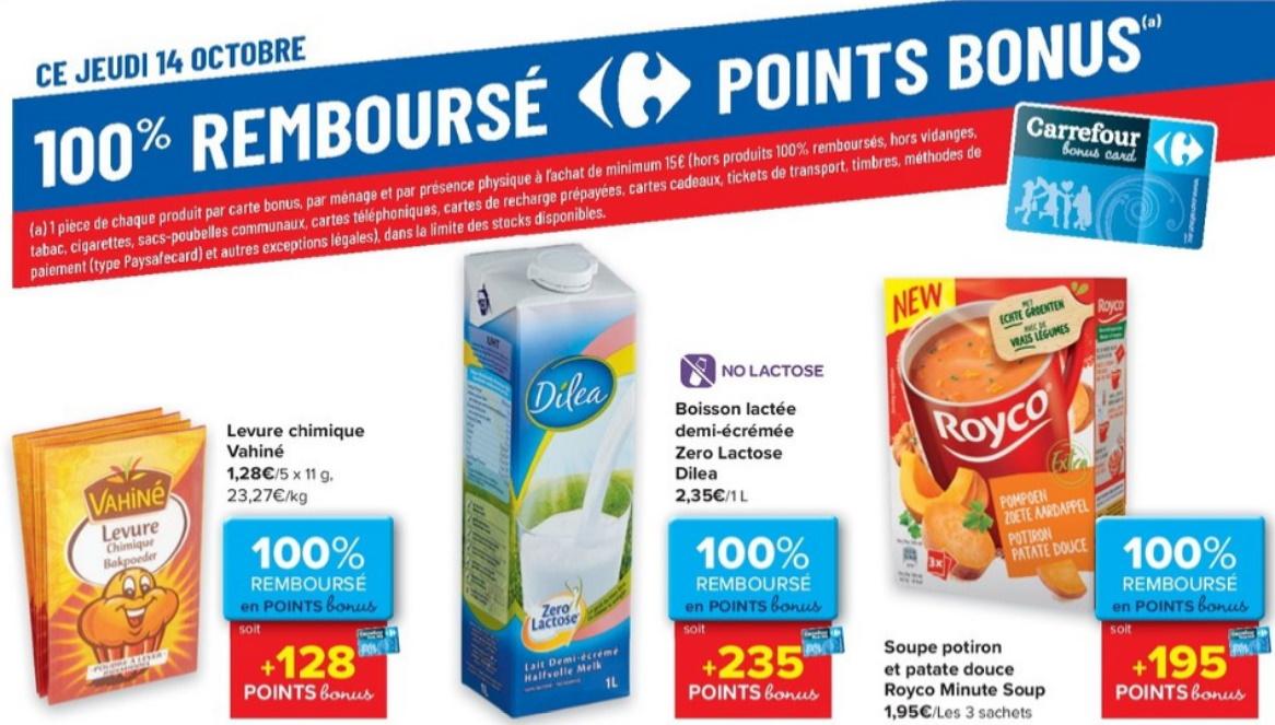 Produits 100% remboursé chez Carrefour le 14 octobre 2021